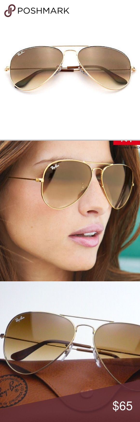 Ray-Ban Aviator Gold Brown Gradient RB3025 001/51 Ray-Ban Aviator Gradient sunglasses encompass the teardrop shape that started it all. Originally designed for U.S. aviators, the Aviator Sunglasses design has become an icon. The gradient lenses are nicely toned and give a cool effect to what is considered the sunglass that shaped entire cult movements. Wear RB3025 Aviator Gradient sunglasses with a gunmetal frame and lens treatments including crystal Polarized Sunglasses blue gradient…