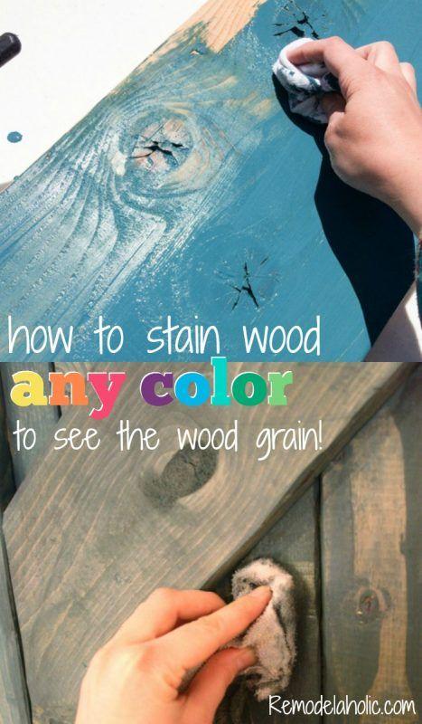 Cómo utilizar la pintura para COLORWASH y madera mancha de cualquier color - la veta de la madera todavía muestra a través @Remodelaholic
