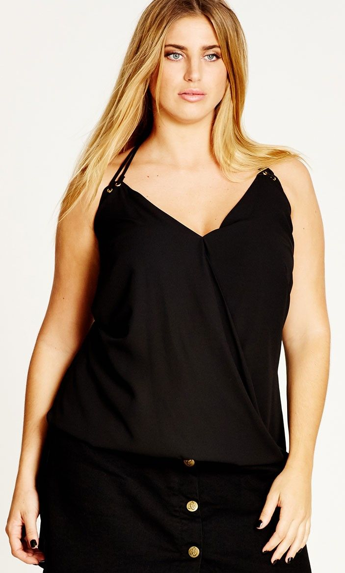 Double Eyelet Cami - Tops in black | CityChicOnline.com