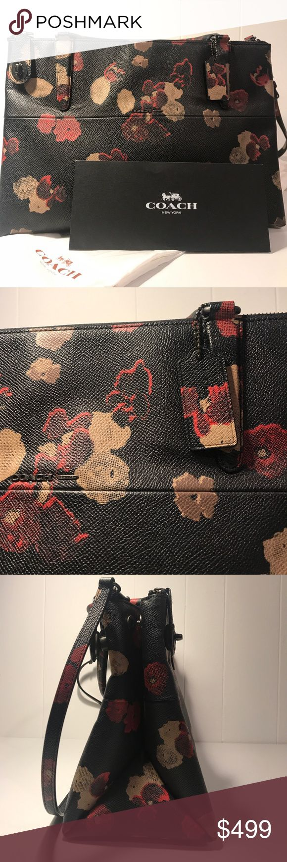 "COACH borough floral satchel Finished by hand in textured leather with a digitized 1930s print, it comes with a detachable strap for shoulder or crossbody wear. Inside open pockets. Zip-top closure, fabric lining. Handles with 4 drop. Longer strap with 20"" drop for shoulder or crossbody wear. NEW NEVER USED just don't have tags, comes with sleeve Coach Bags Satchels"