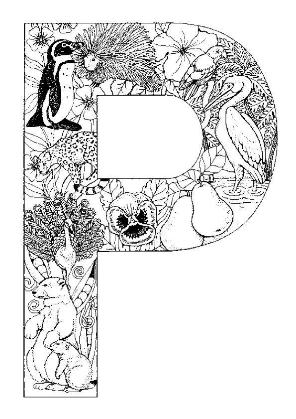 A colorier, la faune et la flore de la jungle encadrées par la lettre P