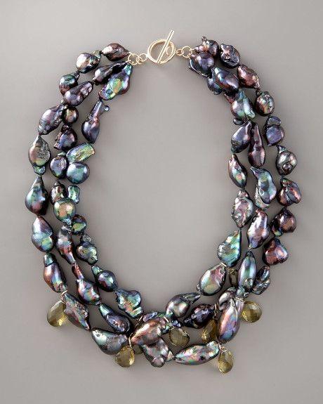 Baroque Pearl Necklace | Wendy Brigode Black Baroque Pearl Necklace in Black - Lyst