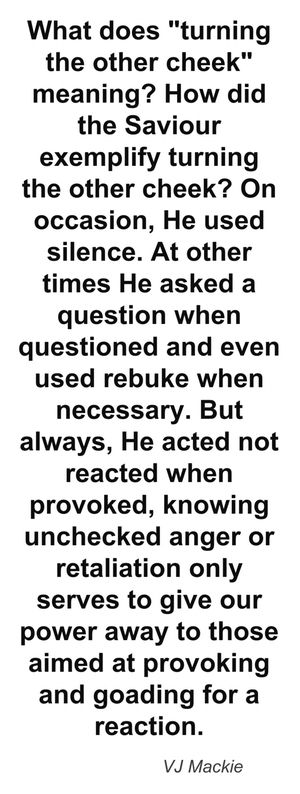 """What does """"turning the other cheek"""" meaning! How did the Saviour exemplify turning the other cheek? On occasion, He used silence. At other times He asked a question when questioned and even used rebuke when necessary. But always, He acted not reacted when provoked, knowing unchecked anger or retaliation only serves to give our power away to those aimed at provoking and goading for a reaction. VJ Mackie"""