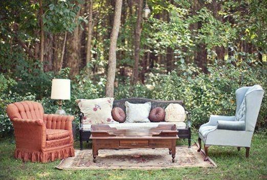 Mismatched vintage sofas for outdoor lounge - Let Southern Jeweled Vintage Rentals design a lounge area for your wedding!