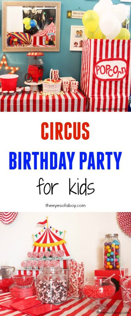 Adorable and fun carnival or Circus Birthday Party idea for Kids - love the DIY homemade HUGE big giant popcorn box with balloons and the striped tent theme throughout the party venue - there's a petting zoo in the backyard, matching cake and a ticket booth, and so many cute things that a kid would LOVE for their birthday party - great sibling party idea too works for both a boy and a girl
