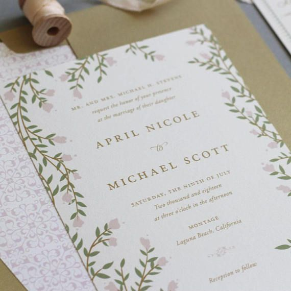 Come join us in the secret garden! This invitation is perfect for a whimsical or fairytale wedding with its beautiful flowing vines that frame the invitation and the vintage boarders. Complete the look with an illustrated map! We printed this on letterpress paper for a luxurious