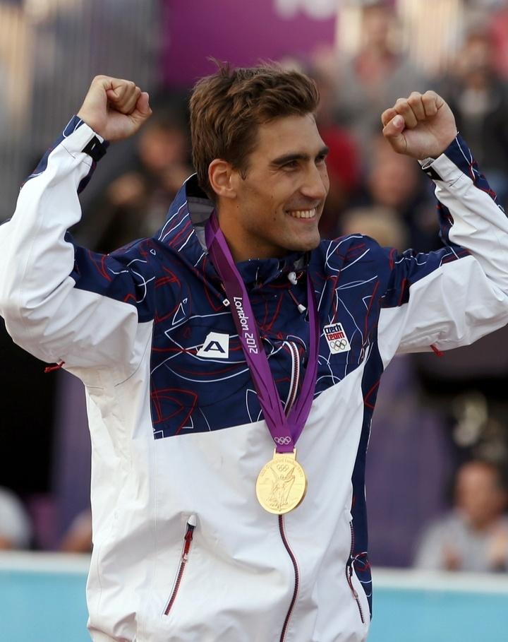 Český moderní pětibojař David Svoboda se raduje ze zalté olympijské medaile na OH 2012 v Londýně. Golden medal for Czech republic :o)