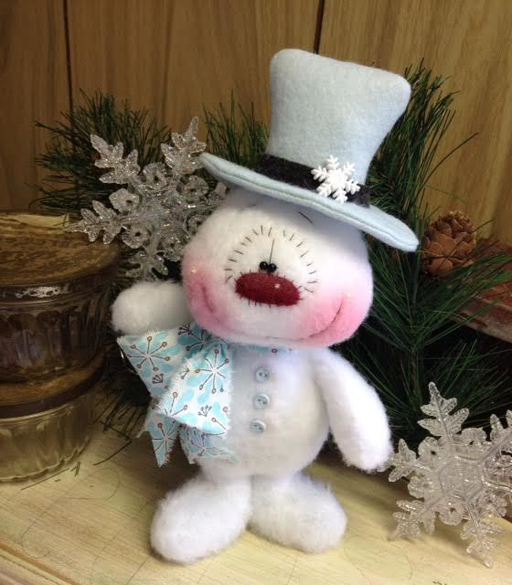 "Primitive HC Holiday Christmas Doll Snowman Top Hat Snowflake 9"" Super Cute! #IsntThatCute #Christmas"