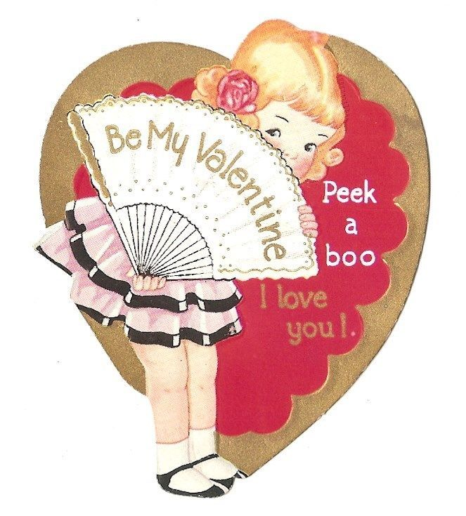 Vintage 1920's 1940's Valentine Greeting Card Peek A Boo Girl Fan ID 140 | eBay