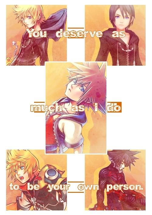 Top left: Roxas, top right: Xion, middle: Sora, bottom left: Ventus, bottom right: Venitas. They all deserve to be their own person even though they are all a part of each other!