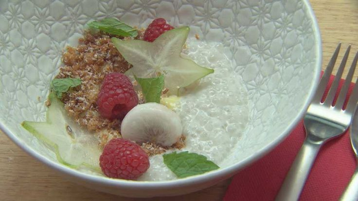 Coconut Tapioca with Lime Curd, Coconut Crumble and Raspberries, Star fruit and Mangosteen