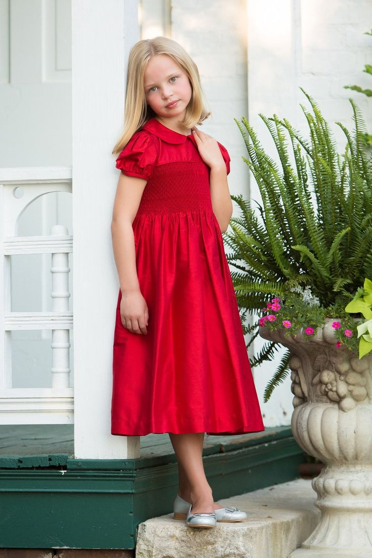 Smocked Christmas Dress or Red Flower Girl Dress for Beauty and Beast wedding Strasburg Children