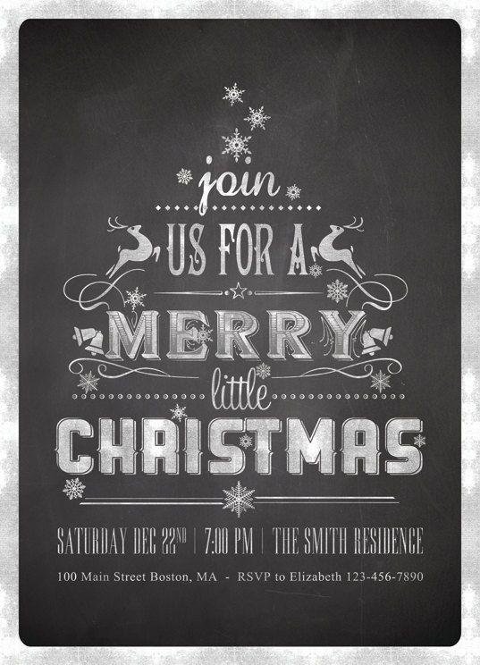 Printable Chalkboard Christmas Invitations Chalkboard by plpapers