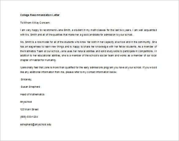 8 Letter Of Recommendation For Student Free Sample Example Wi