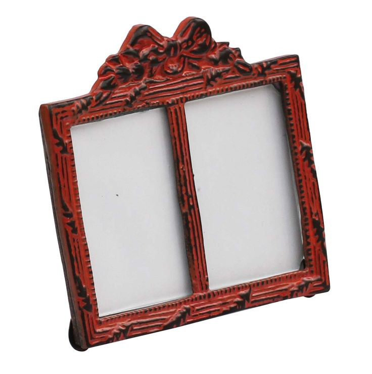 Bulk Wholesale Handmade Double Photo Frame / Picture Stand in Metal Work Decorated with a Bow Design on the Top in Red Color with Distressed-Look – Table / Wall Décor – Rustic-Look Home Décor