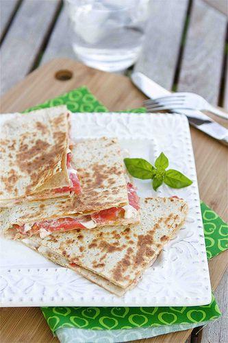 Caprese Quesadilla with Tomato, Mozzarella & Basil Mayonnaise - An easy lunch.