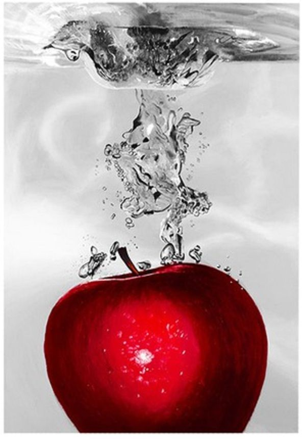 This ready to hang, gallery-wrapped art piece features a cherries, apple, lemon, and strawberries being dropped in water. Internationally collected, award winning artist, Roderick E. Stevens II was ha