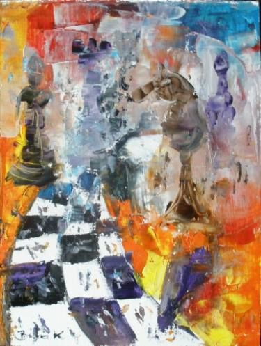 Chess series Konrad B.art.Original surreal oil painting