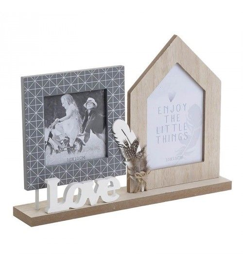 WOODEN WALL FRAME 'LOVE' W_2 SECTIONS 30X15X21