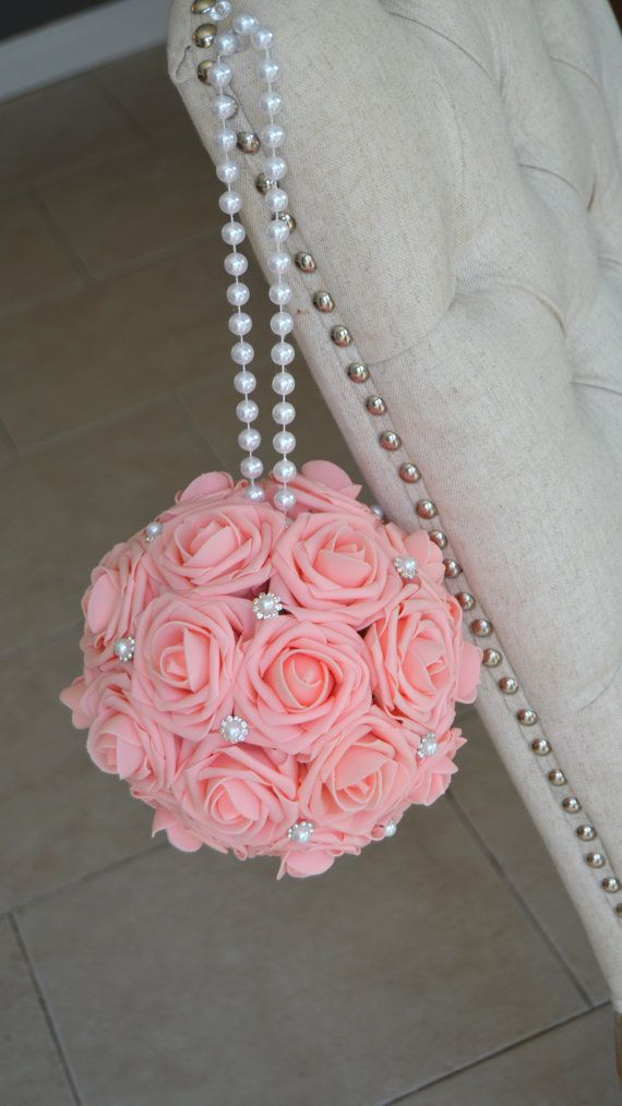 PINK Kissing Ball with brooch & pearl handle. by KimeeKouture