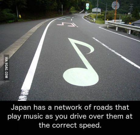 Musical road near Mount Fuji, Japan.