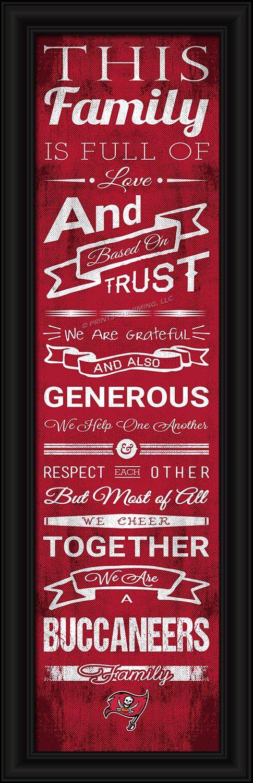 "~Tampa Bay Buccaneers Family Cheer Print 8""x24""~ backorder"