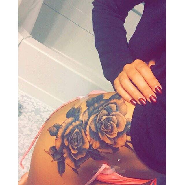https://www.facebook.com/tattoos1/posts/10153639762440502:0 Saw on myttoos.com Black & White Rose Hip tattoo