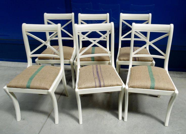 6 sedie inglesi in mogano laccate con seduta ruvida rivestita contemporanea in juta