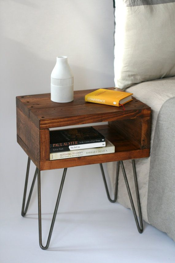Sashi Bedside Table | Side Table | Small Table | Teak Stain | Reclaimed Wood | Bespoke Furniture | White Hairpin | Industrial Nightstands