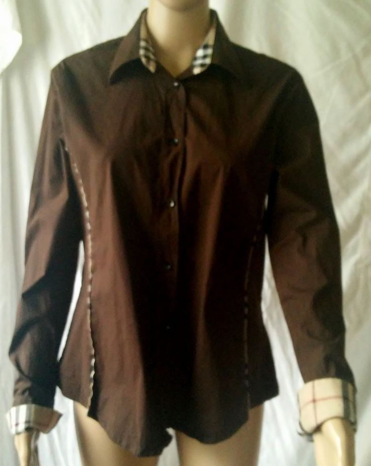 Burberry London Brown Cotton Shirt With Plaid Cuffs Size Large #Burberrylondon #ButtonDownShirt #Anytime