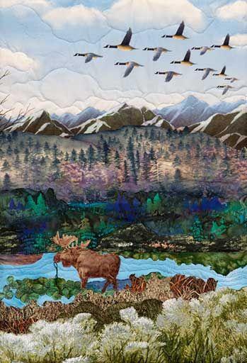 Canada Green      Original Landscape Quilt, Watercolor Quilt