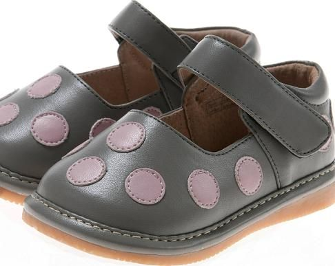 Gray and Pink Polka Dot  Squeaky Shoe-Grey and Pink Polka Dot  Squeaky…