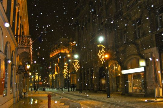 Christmas lights in Budapest.
