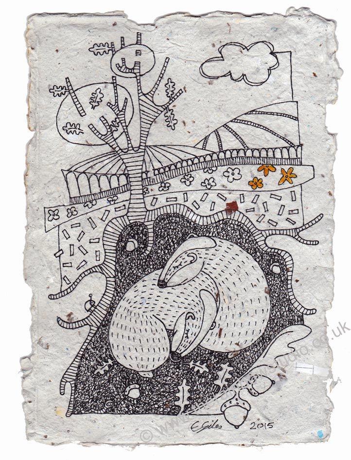 Badgers Retreat, original illustration on handmade paper by Emma Giles www.therainbowstudio.co.uk