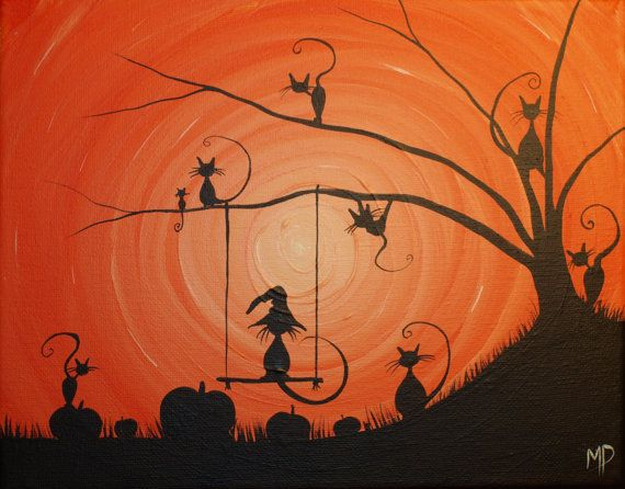Cats love Halloween  8 x 10 acrylic on canvas by MichaelHProsper, $25.00