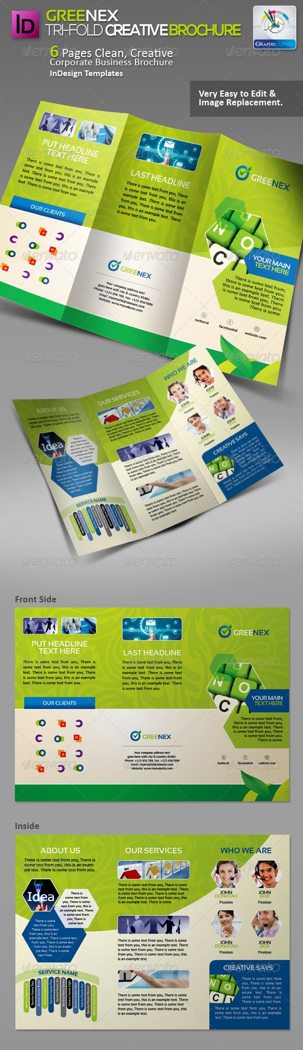 Greenex Tri-fold Creative Brochure  #GraphicRiver         Greenex Tri-fold Clean Corporate Business Brochure for multipurpose use,  quality design, Clean, professional and modern brochure template save your time & cost. - size: 210×297mm + bleed & Trim Mark  - Layered INDD (Including Vector Elements & Icons)  - CMYK and Fully Resizable & Vector   Features > This template is ideal for any business presentation.  > The style is sober, both dynamic and readable.  > Sample texts and images are easy to replace.  > The template contain Layered INDD & Vector EPS files (Elements & Icons).  > You can change everything, if the colors or effects are not appropriate.  > Picture Images html links inside in help file.  Used Fonts & Images Used all fonts & picture images Name & Available Links is included in the Support .txt File in Main Files. If you like, please rate this…  Also Available   01_Greenex Business Card :  graphicriver /item/benxgreen-corporate-business-cards/1437489?WT.ac=portfolio&WT.seg_1=portfolio&WT.z_author=GraphicArtist  02_Greenex PowerPoint Templates :  graphicriver /item/greenex-creative-powerpoint-templates/3654165?WT.ac=portfolio&WT.seg_1=portfolio&WT.z_author=GraphicArtist  03_Greenex Business Proposal :  graphicriver /item/greenex-clean-creative-project-proposal/3668069?WT.ac=portfolio&WT.seg_1=portfolio&WT.z_author=GraphicArtist  04_Greenex Bi-Fold Brochure :  graphicriver /item/greenex-bifold-creative-brochure/3680190?WT.ac=portfolio&WT.seg_1=portfolio&WT.z_author=GraphicArtist  05_Greenex Tri-Fold Brochure :  graphicriver /item/greenex-trifold-creative-brochure/3691055?WT.ac=portfolio&WT.seg_1=portfolio&WT.z_author=GraphicArtist  06_Greenex Sinage Pack :  graphicriver /item/greenex-sinage-solution-pack/3695862?WT.ac=portfolio&WT.seg_1=portfolio&WT.z_author=GraphicArtist  07_Greenex Business Flyer/Ads :  graphicriver /item/greenex-corporate-business-flyerads/3702902?WT.ac=portfolio&WT.seg_1=portfolio&WT.z_author=GraphicArtist  08_Greenex CD Packages Pack :  graphicriver /item/greenex-creative-cd-sleeve-sticker/3706470?WT.ac=portfolio&WT.seg_1=portfolio&WT.z_author=GraphicArtist  09_Greenex Shopping Bag :  graphicriver /item/greenex-multipurpose-creative-shopping-bag/3706961?WT.ac=portfolio&WT.seg_1=portfolio&WT.z_author=GraphicArtist   10_Greenex FB Timeline Cover:  graphicriver /item/greenex-creative-fb-timeline-cover/3716730?WT.ac=portfolio&WT.seg_1=portfolio&WT.z_author=GraphicArtist  11_Greenex Creative PSD Invoices:  graphicriver /item/greenex-creative-psd-invoices/3721114?WT.ac=portfolio&WT.seg_1=portfolio&WT.z_author=GraphicArtist  Do You Need Professional Custom Design? I am available for freelance work. Contact me if you are interested! Please feel free to contact me when you encounter problems or have questions! Thanks…     Created: 5January13 GraphicsFilesIncluded: VectorEPS #InDesignINDD Layered: Yes MinimumAdobeCSVersion: CS2 PrintDimensions: 297x210 Tags: businessbrochure #corporate #creativebrochure #green #tri-foldbrochure