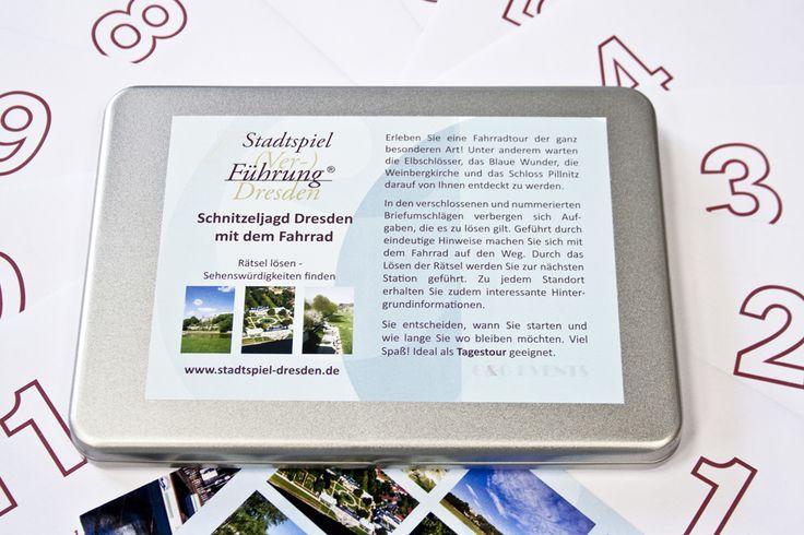 Stadtspiel - Geschenkbox, Fahrradroute. Dresdens Elberadweg bis Pillnitz und zurück individuell entdecken.  http://www.stadtspiel-schnitzeljagd.de/de/stadtspiele/dresden/fahrrad-route