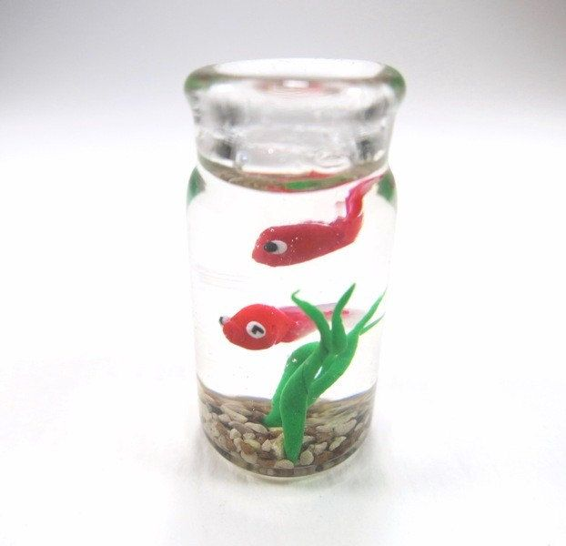 Tiny red fish bottle miniature fish polymer clay goldfish for Micro fish tank