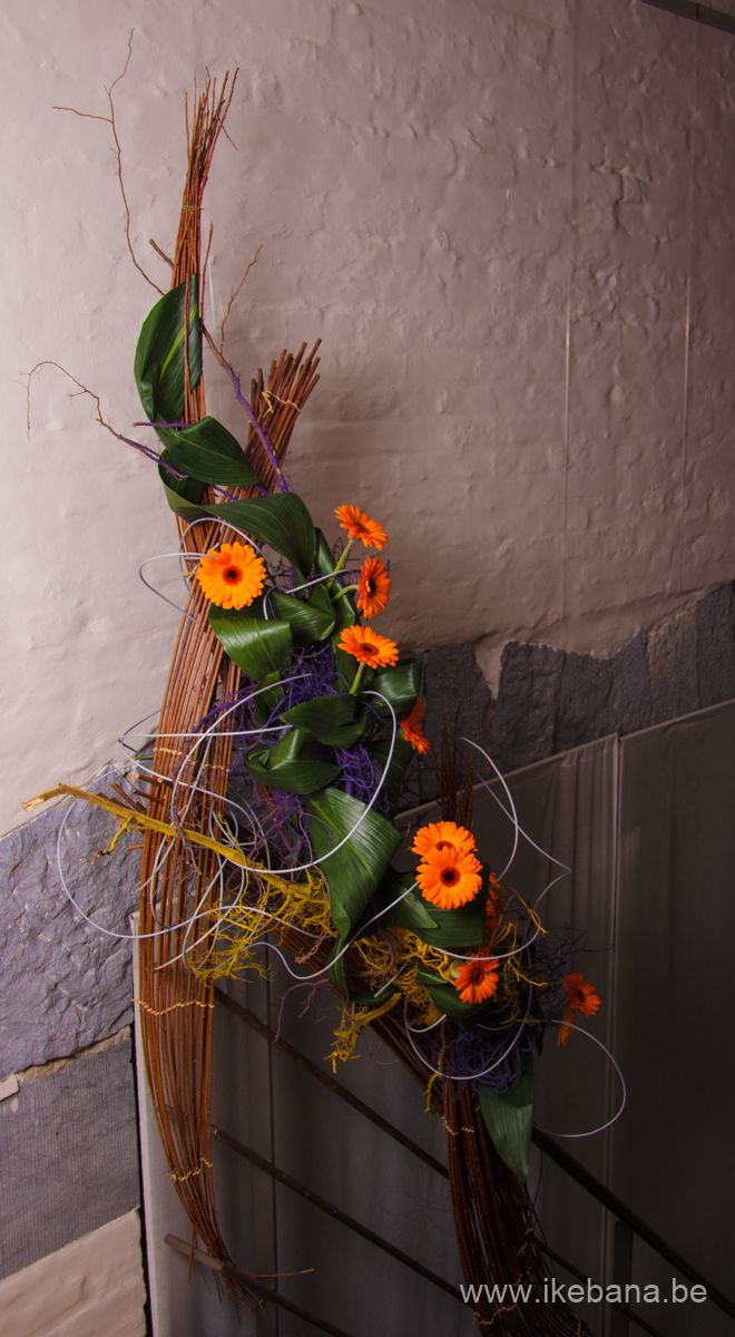 Sogetsu Ikebana with Willow at staircase - Ilse Beunen