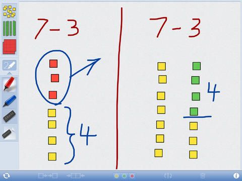 Number Pieces- free Students can use the number pieces to represent multi-digit numbers, count, regroup, add, and subtract. The drawing tools allow students to label representations and show their understanding.