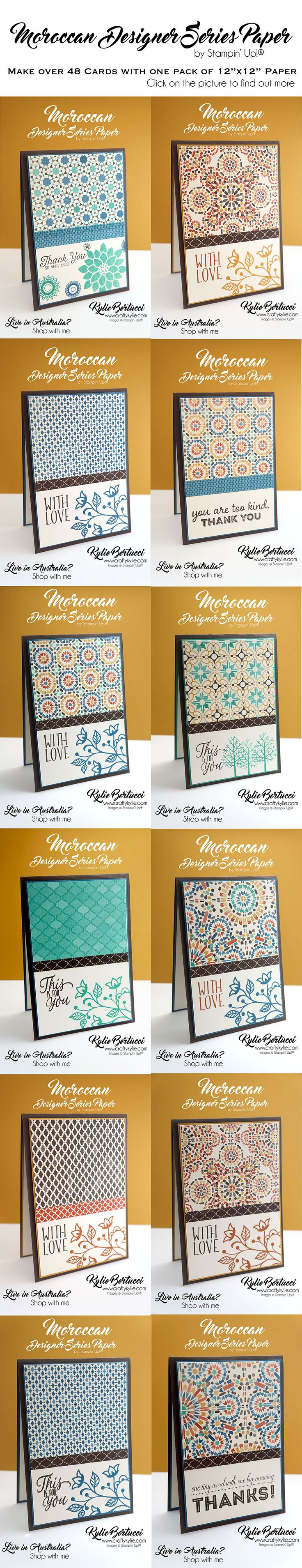 Kylie Bertucci - Moroccan Designer Series Paper. click on the picture to find out more! #stampinup #cardmaking #handmadecard #rubberstamps #stamping #kyliebertucci