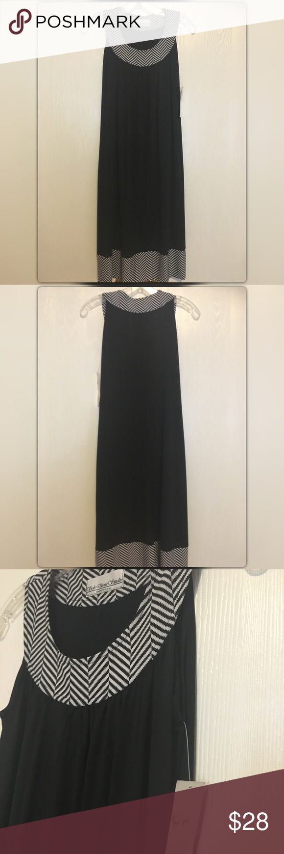 💥🆕💥Sole Dione Studio Black & White Stripe Dress NWT! Sleeveless black jersey midi dress with black/white stripe neck & hem trim/detail!!  Size Small, stretch comfy jersey fabric!!  92% Polyester, 8% Lycra. Wear as a dress or as a tunic with leggings!! Dress up or down!! And this dress has pockets!! Purchased from a boutique and forgot I had it, never worn!! Grab this!! Sole Dione Studio Dresses Midi