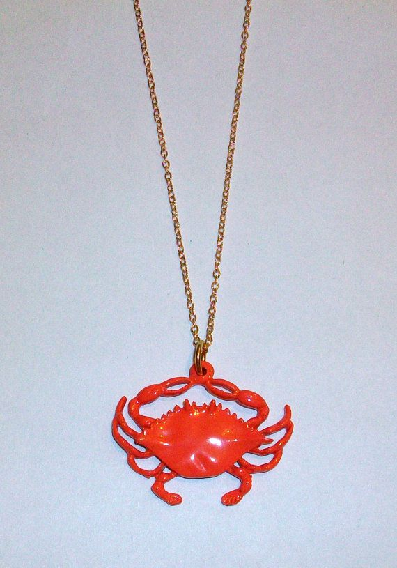 Vintage Crab Necklace DEADSTOCK by SHOPHULLABALOO on Etsy, $8.99