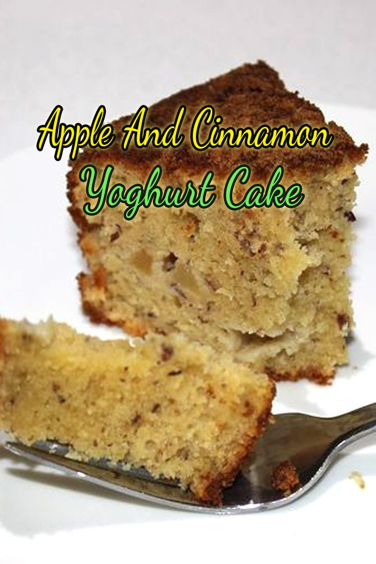 This Apple and Cinnamon Yoghurt Cake is soft and delicious served with cream or ice-cream! The apple gives it a lovely sweetness and the cinnamon sugar on top makes it…. well YUM!
