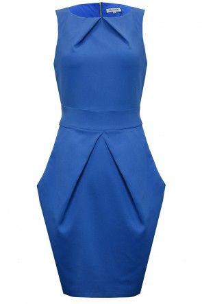 Amber Pleat Dress in Blue