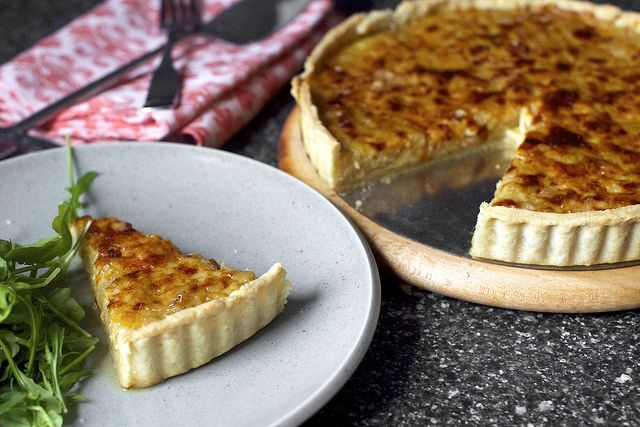 french onion tart by Smitten Kitchen. Made this tonight even with the broken wrist. (Thank heavens for the mandoline!)