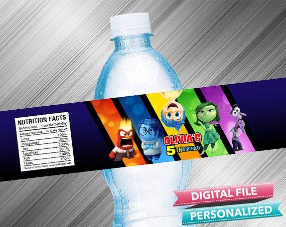 Inside Out Water Bottle Label by kidspartydiy on Etsy