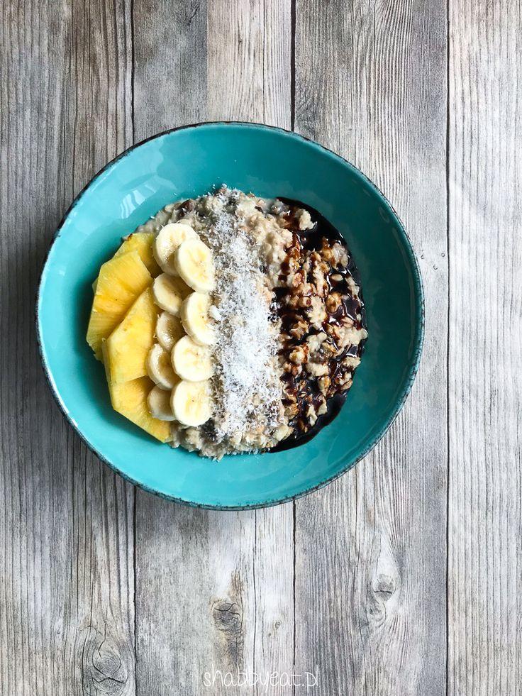 Owsianka pina colada z bananami i syropem daktylowym - Shabby eat / oatmeal with coconut pineapple banana date syrup / śniadanie / healthy fit breakfast recipe