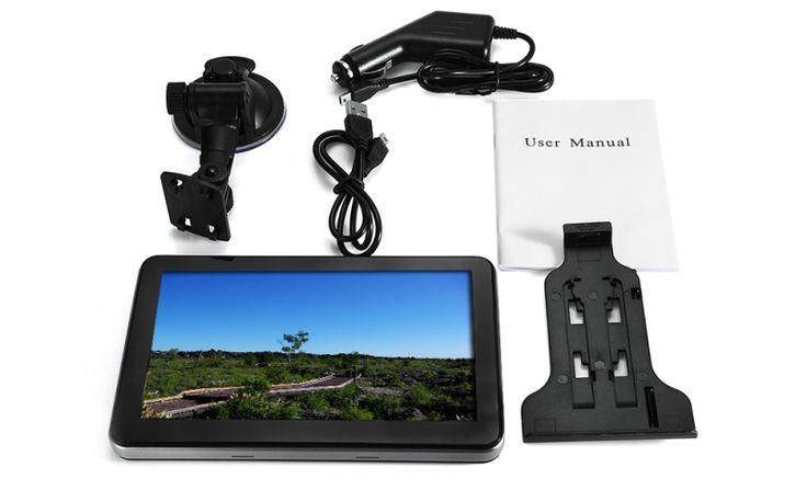 704 Win CE 6.0 7 inch Car GPS Navigation Navigator AV North America Map Black - Tmart