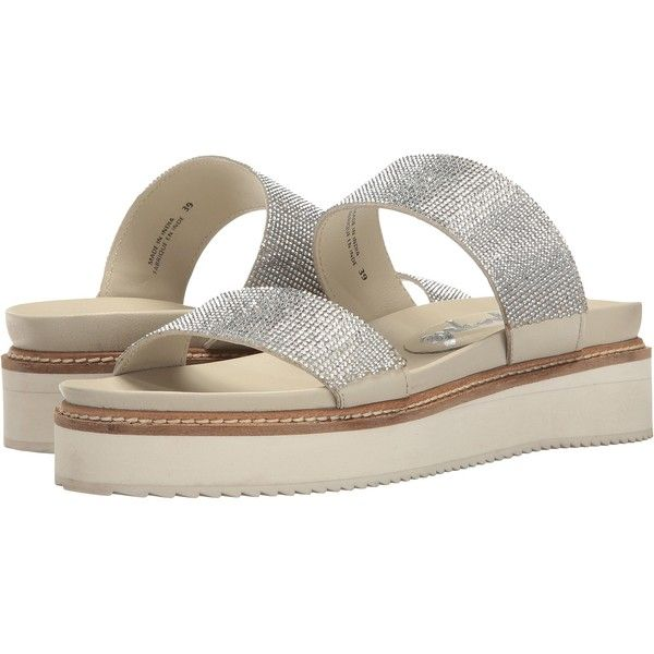 Free People Harper Gem Flatform (Silver) Women's Sandals ($58) ❤ liked on Polyvore featuring shoes, sandals, silver, silver platform shoes, silver slip on sandals, silver shoes, silver slip on shoes and dressy sandals